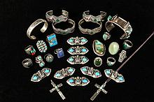 NATIVE AMERICAN JEWELRY - Collection of (30) Pieces of Silver Native American Jewelry, including: (8) Sterling Silver Figural Brooches, each set with two turquoise stones, marked for Silver Cloud Jewelry of Albuquerqu...