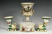 (4 PCS) EARLY DERBY PORCELAIN - Including: Circa 1810 Duesbury Large Grecian Urn with painted scene