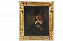 19TH C STUDENT COPY - Rembrandt Self Portrait, oil on canvas, unsigned, in carved gold frame, OS: 18 1/2' x 15 1/2