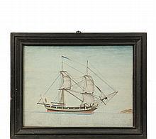 SHIP'S PORTRAIT - Port Side View of an Unidentified Brigantine flying a flag depicting St. Patrick, on stylized waves with abstract island to right, watercolor on paper, unsigned, circa 1820, in black molded frame, un..