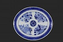 CHINESE EXPORT PLATTER - 19th c. Large Oval Blue & White Porcelain Platter, in the Fitzhugh pattern, with four arrangements of blossoms, scholar's tools and symbols of fortune. 1 3/4