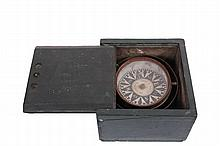 MIDCOAST MAINE MADE BOXED COMPASS - Circa 1900 Dry Compass in Green Painted Pine Box, the compass gimballed, with paper dial marked