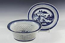 (2 PCS) CHINESE PORCELAIN - 19th c. Canton Export Blue & White Reticulated Fruit Basket with Matching Underplate, decorated with blue willow landscape. 4