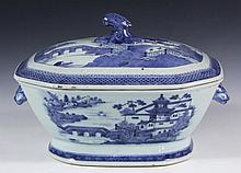 CHINESE PORCELAIN LIDDED TUREEN- 19th c. Canton Export Soup Tureen with Lid, eight sided, with bird head finial, boars head handles, blue willow landscapes, 9