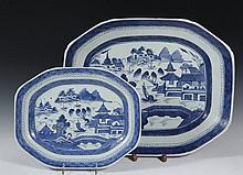 (2) CHINESE PORCELAIN PLATTERS - 19th c. Canton Export Octagonal Platters with blue willow decoration, 2 1/2
