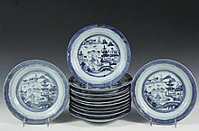 (13) CHINESE PORCELAIN PLATES - 19th c. Canton Export Dinner Plates with blue willow decoration, slight variations, 9 3/4
