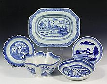 (5) CHINESE PORCELAIN SERVING PIECES - All 19th c., with blue willow landscapes, including: Oblong Eight-Sided Deep Bowl, 2 1/4