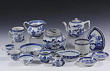 (15 PCS) MISC CHINESE PORCELAIN SERVING PIECES - All 19th c. Canton Export, mostly blue willow landscape pattern, including: Ginger Jar with Lid, 6 3/4