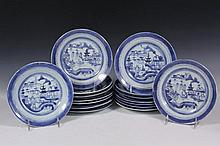 (17) CHINESE PORCELAIN SHALLOW BOWLS - All 19th c. Canton Export, blue willow pattern, in variations, 8 1/2