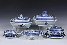 (7) CHINESE PORCELAIN SERVING PIECES - All 19th c. Canton Export, blue willow pattern, including: Pair of Oblong Covered Vegetables, domed tops have pine cone finials, 6