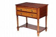TWO-DRAWER SERVER - 19th c. American Mahogany Server with overhanging bullnose top, shallow cabinet below with tiger maple drawer fronts and turned legs, ending in ball feet, shaped lower shelf, 31 1/2