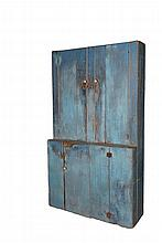 BLUE PAINTED STEPBACK CUPBOARD - 19th c. New England, primitive pine, with robin's egg blue casein paint over gray, the interior in pale green, the upper cabinet with two doors, four shelves, the lower cabinet with a ..