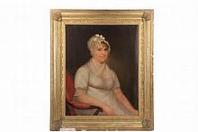 AMERICAN SCHOOL ARTIST - Circa 1830 Portrait of a Woman in Summer Dress with Cap, oil on canvas, housed in gold painted gesso frame, OS: 40 1/2