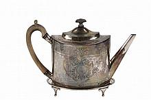 TEAPOT ON STAND - English George III Period Sterling Silver Teapot on Footed Stand, hallmarked for London 1799 by Alexander Field, with geometric and foliate engraving and central cartouche to each side, no monogram, ...