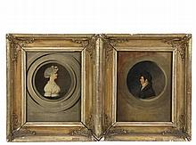 JAMES WOOD (RI, 1803-1867) - A Pair of Profile Bust Portraits, Man and Woman, captioned