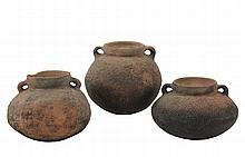 (3) PRE-COLUMBIAN POTS - South American, probably Ecuador or Peru, Pit Fired Terra Cotta Ovoid Jars with raised bump decoration, collared neck having two small loop handles, 5 1/2