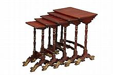 19TH C CHINESE NESTING TABLES - Set of Five Graduated Tables in Red Lacquer, the shaped lids having gilt fern frond decoration, an