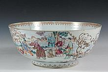 CHINESE PORCELAIN PUNCH BOWL - An 18th century Chinese export porcelain punch bowl with Rose Canton figural decoration, having two large and two small vignettes surrounded by gilt work, finely painted, gilt interior r...