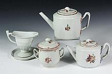 (5 PCS) CHINESE EXPORT PORCELAIN - All late 18th c., in various decoration, including: Large Teapot; Small Teapot; Covered Sugar; Helmet Form Creamer and Underplate. Good condition.