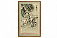 CHINESE PAINTING - Early 20th c., Twelve Young Beauties in a Walled Garden, watercolor/gouache on silk, signed and with seal, in gold molded frame, matted and glazed. OS: 40 1/2