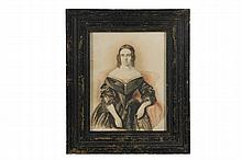 AMERICAN CIVIL WAR ERA PORTRAIT - Miniature Watercolor on Paper, unsigned, of a lovely young woman in mourning dress, looking intently at the viewer, her face framed by auburn ringlets. Found in Maine. In a later fati...