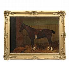 19TH C AMERICAN SCHOOL - Portrait of a Thoroughbred Horse in the stall, unsigned, oil on canvas, in gold matched corner frame, OS: 23
