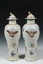 PAIR OF CHINESE EXPORT VASES FOR THE AMERICAN MARKET - Federal Period, circa 1800, Baluster Vases with the original lids, decorated with the American Eagle and Shield, having the Chinese version of a New England homes...