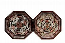 SAILOR'S VALENTINE - 19th c. Clamshell Mahogany Octagonal Case with shell decorations within the shadow boxes, heart in a wreath on the right and compass star on the left, made up from Caribbean shells. 3 1/4