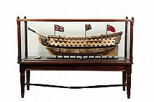 LARGE SHIP MODEL ON FLOOR STAND -
