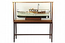 LARGE SHIP MODEL ON FLOOR STAND - Thornycroft Classic Gentleman's Motor Yacht