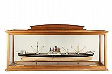 LARGE CASED SHIP MODEL - British Steel Screw Steamer
