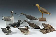 (8) ASSORTED SHOREBIRD DECOYS - Late 19th to early 20th c Decoys, including: (3) Unpainted Sandpipers (only one with base); PLUS (2) Painted Sandpipers (one with base, signed F. Martin); PLUS (3) Small Painted Ducks (...