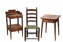 (3 PCS) EARLY AMERICAN FURNITURE - Maine Country Made Pine Wash Stand, One-Drawer Lamp Stand and Ladderback Chair, the chair with woven webbed seat. 34