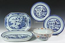(5 PCS) CHINESE EXPORT PORCELAIN - All 19th c, including: Iron Red and Blue Deep Bowl, 4