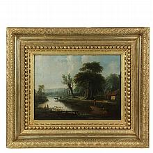 18TH C DUTCH LANDSCAPE - Riverside Cottage with Two Men in a Boat, oil on canvas, unsigned, in ornate gold gesso frame, OS: 20 1/2