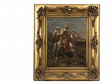 ADOLF SCHREYER (Germany, 1829-1899) - Bedouin Horsemen, oil on canvas, signed lower right, in what may be the original reticulated gold frame, OS: 26
