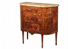 19TH C FRENCH COMMODE - Small Louis XV Style Commode with straight front and bowed ends, retaining the original Breche St. Antonin marble top, having a kingwood and satinwood banded veneer case, fitted with three draw...
