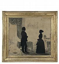 AUGUSTE EDOUART (UK/NY, 1781-1861) - Very Choice Double Silhouette of a Couple in an interior, standing in front of a fireplace with a landscape painting above, signed lower left