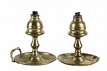 PAIR OF AMERICAN WHALE OIL LAMPS - Brass Lamps attributed to the shop of William H. Webb of Warren, Maine, (active 1799-1856) circa 1835, having modified lemon top fonts with the original burners, saucer base, only on...