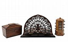 (3 PCS) FINE ENGLISH WOODWORKING - All 19th c., including: Reticulated Adjustible Bookstand in rosewood veneer with brass fittings and ebonized edges, 10