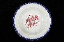 RARE EARLY PATRIOTIC AMERICAN LEEDS BOWL - English China Bowl decorated with the American Eagle and Shield in cranberry transfer, typical feathered blue edge, 1 1/2