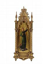 ECCLESIASTICAL PAINTING - Grand Tour Italian Oil on Gilt Panel of an Angel with Trumpet, after Fra Angelico (c1395-1455), in a handcarved gilt architectural Florentine frame. 27