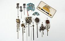 COLLECTION OF CHINESE AND JAPANESE HAIR ORNAMENTS - (13) 19th c Silver and Gold, including: (3) single tined pin silver Tao Masks; (2) jeweled gold single tined pins; (6) Dimensional Figured, double tined, floral, gol...