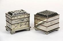(2) RARE CHINESE PAKTONG INCENSE CLOCKS - 19th c Powdered Incense 'Seal' Clocks, in the form of multi-leveled small boxes with patterned perforated tops, the internal trays, in the form of a family or municipal seal, .