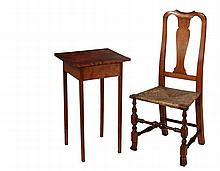 (2 PCS) EARLY MAINE FURNITURE - Country Accent Pieces, including: Queen Anne Chair in maple, circa 1750, having a well shaped and carved rail, vase form backsplat, cyma curved stiles and old if not original rush seat,...