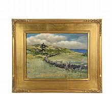 AMERICAN IMPRESSIONIST - Maine Landscape with Stone Fenced Field descending to distant harbor, single pine tree, oil on canvas board, circa 1890, unsigned, in replica gilt Arts & Crafts frame, OS: 14