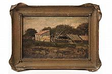 AMERICAN WEST ARTIST - 'Hog Ranch, Wood Stock, Alameda Point or West Alameda in 1875, home of Charles Joseph Deckerle and his wife Julia', oil on canvas, unsigned, labeled verso, with title and provenance, in vintage .