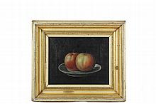 19TH C FOLK ART PAINTING - Still Life of Two Apples on a Plate, signed lr 'John Stock, '61', in lemon gold molded deep cove frame, OS: 12 1/2