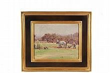MABEL MAY WOODWARD (RI/ME, 1877-1945) - Man Plowing Spring Field with Horse Team, Maine Coast, oil on coarse linen, unsigned, contemporary gold and black frame, OS: 12 1/2