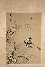 JAPANESE SCROLL - Man Fishing Near Bamboo, ink on paper, laid to silk brocade scroll, signed and with seal, SS: 15 3/4
